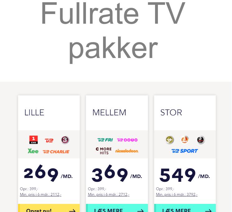 Fullrate TV pakker