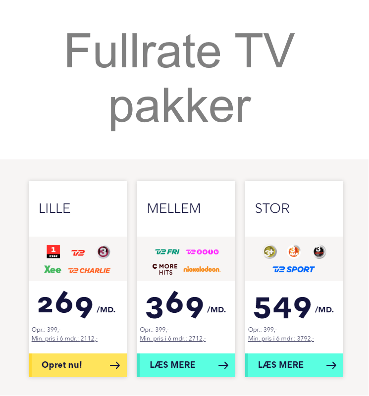 Fullrate TV pakker